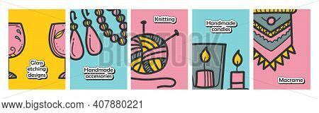 Craft Hobby Set Brochures. Consist Of Knitting, Candles, Macrame Etc. Cover Design And Flyer Layout