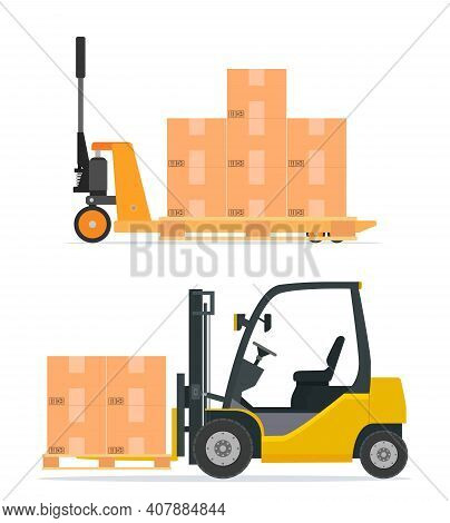Hand Pallet Truck With Cardboard Box. Pallet Jack Full Of Carton Boxes. Forklift Truck Unloads The P