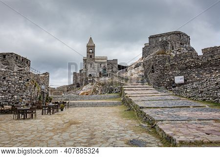 Porto Venere, Italy - October 2020: Scenic View Of The Stone Stairway Leading To The Church Of St Pe