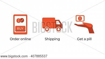 Pills Delivery Service Vector Flat Concept. Buy Medicaments Online, Get Fast Shipping And Take Medic