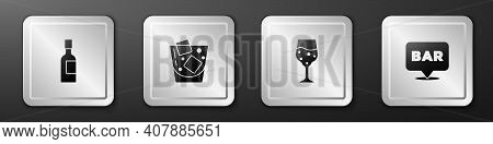 Set Champagne Bottle, Glass Of Whiskey, Champagne And Alcohol Bar Location Icon. Silver Square Butto