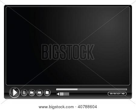 media video black player- vector illustration