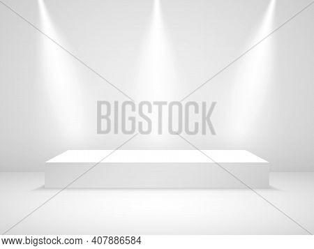 White Podium Mockup. Studio Room With Light. Award Stage With Spotlight. Clean Pedestal Blank. 3d Pl