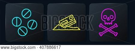 Set Line Medicine Pill Or Tablet, Skull On Crossbones And Cocaine And Credit Card. Black Square Butt