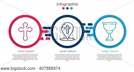Set Line Christian Cross, Map Pointer With Christian Cross And Christian Chalice. Business Infograph