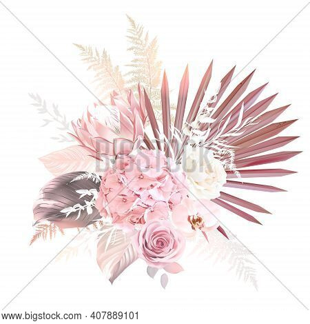 Trendy Dried Palm Leaves, Blush Pink, White Rose, Pale Protea, Orchid, Hydrangea, Pampas Grass Vecto