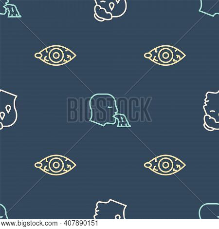 Set Line High Human Body Temperature, Reddish Eye And Vomiting On Seamless Pattern. Vector