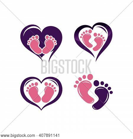 Baby Feet Logo.child Foot Icon. Mother Hand And Baby Feet Icon. Child Care Logo.eps 10