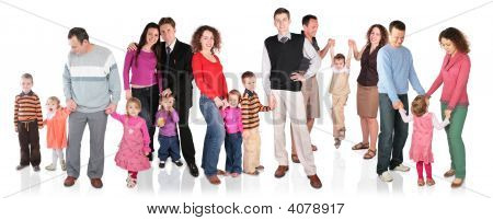 Many Family With Children Group Isolated