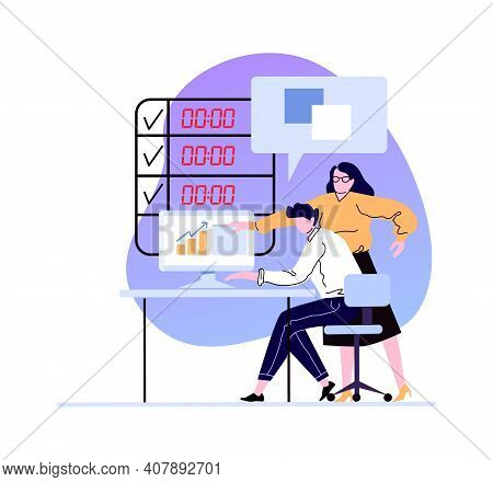 Business Woman Boss Explain To Worker In Office. Illustration Office Boss, Worker Manager Profession