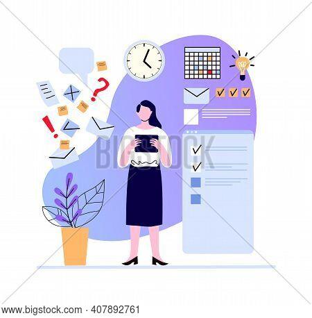 Woman Make Plan And Set Task, Week Goals. Illustration Business Plan, Planner Calendar, Productivity