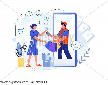 Delivery Purchases From Shop And Pay Credit Card. Payment Buy Use Card, Purchase Delivery Online, In