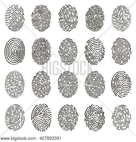 Biometric Fingerprints. Human Grunge Individual Finger Prints, Biometric Thumb Lines And Hand Marks.