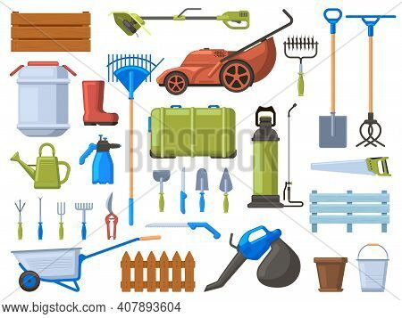 Garden Equipment. Agriculture Gardening Work Tools, Lawn Mower, Shovel, Watering Equipment And Rake.