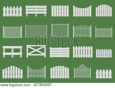White Fences. Wooden Fences, Garden Or House Wood Fencing. Rural White Fence Isolated Vector Illustr