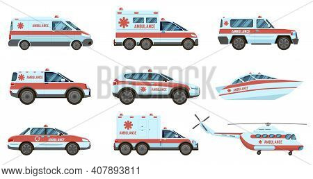 Ambulance Emergency Vehicles. Official City Ambulance Cars, Helicopter And Boat. City Emergency Serv