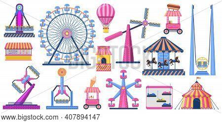 Attractions Festive Park. Amusement Park Attractions, Ferris Wheel, Circus Tent. Carnival Entertainm