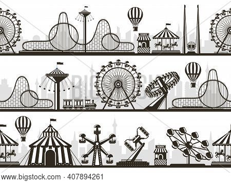 Amusement Park Views. Attractions Park Landscape Silhouettes With Ferris Wheel And Roller Coaster. E