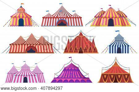 Circus Tent. Amusement Park Vintage Carnival Circus Tent With Flags, Amusement Attraction. Circus En