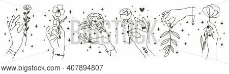 Magical Hands Holding Flowers. Minimalist Hands And Flowers, Abstract Hand Drawn Floral Symbols. Mod