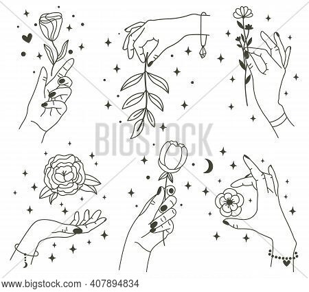 Flowers In Magical Hands. Trendy Linear Minimal Style Hands Holding Beautiful Flowers. Minimalist Ta