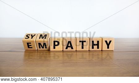 From Empathy To Sympathy. Turned Cubes And Changed The Word 'empathy' To 'sympathy'. Beautiful Woode