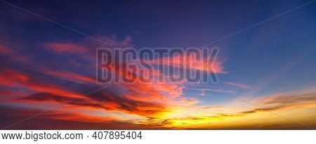 Seychelles Sky At Sunset, Nature Background In Summer With Moving Clouds.. Seychelles Islands Skies