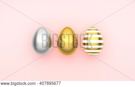 Easter Decor With Eggs, Pastel Background. Happy Easter Card. 3d Rendering