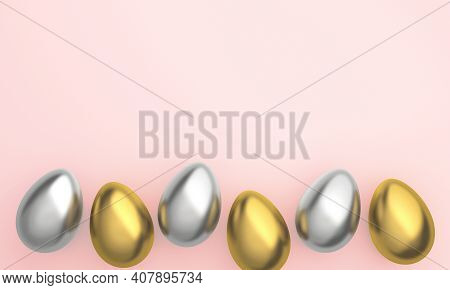 Golden Easter Eggs In Row Placed On Pink Background. 3d Rendering