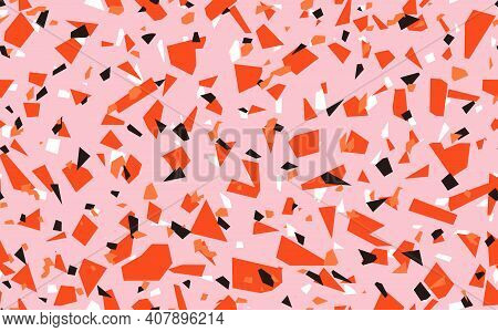 Geometric Pink Terrazzo Seamless Pattern. Abstract Colourful Modern Background. Stone Fashion Design
