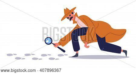 Private Detective Follows Footprints. Detective Character Crime Investigation, Private Investigator