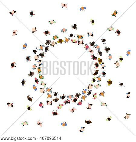 People Crowd Top View. Walking Male And Female Characters, Gathering Human Community. Social People