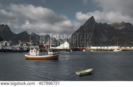 Fishing  Boats In The Marina At The Town Reine Lofoten Islands  Norway.