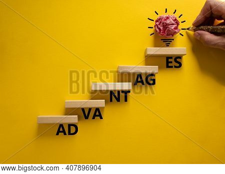 Business And Advantages Symbol. Wood Blocks Stacking As Step Stair, Yellow Background, Copy Space. B