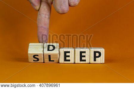 Sleep Deep Symbol. Doctor Turns Wooden Cubes With Words Sleep Deep. Beautiful Orange Background, Cop