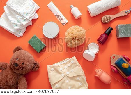 Baby Bathing And Diaper Changing Products Background, Top View