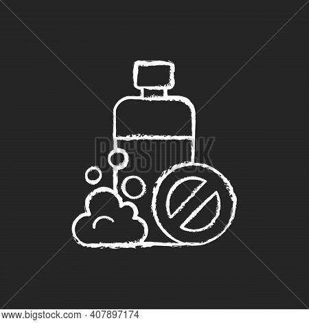 Sls Free Chalk White Icon On Black Background. Creation Of Cosmetics Without Harmful Chemical Additi