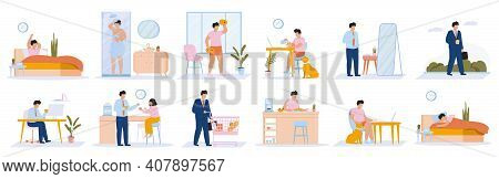 Daily Man Routine. Young Guy Everyday Leisure And Work Activities, Eating, Working, Sleeping. Everyd