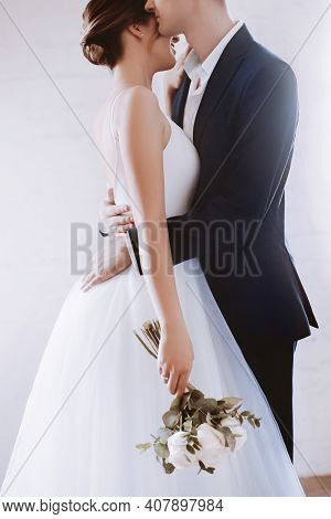 Happy Bride In White Dress And Groom On Their Wedding,  Bridal Couple, Happy Newlywed Woman And Man.