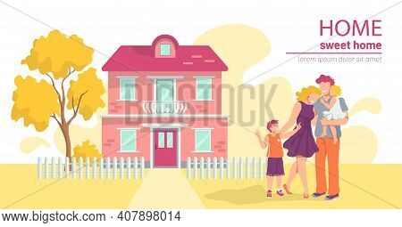 A Happy Young Family Standing Against The Background Of Their Two-story Country House. Mother, Fathe