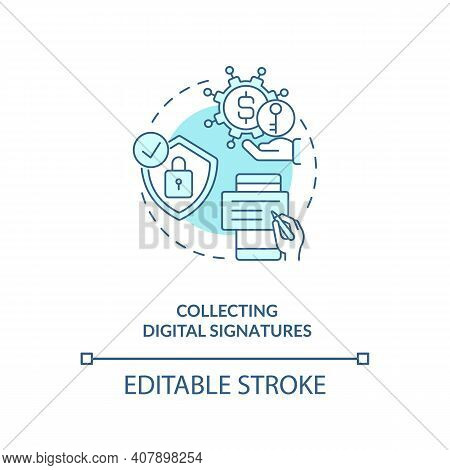 Collecting Digital Signatures Concept Icon. Contract Management Software Functions. Signing Digital