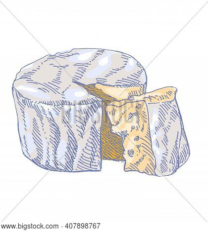 Cheese Brie Or Camembert, Round Creamy Soft Cheese With Cut Slice, French Food, Close-up, Isolated,