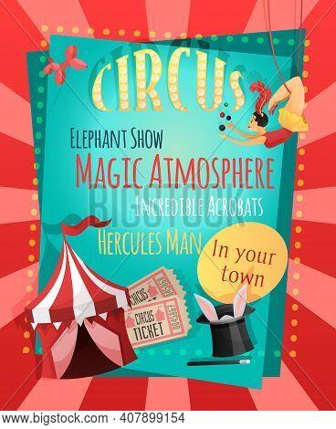 Circus Retro Poster With Elephant Show Magic Atmosphere Incredible Acrobats Hercules Man Vector Illu