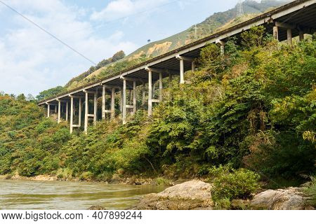 The Highway On The Red River Is The Border Between Vietnam And China, Yunnan Province, China
