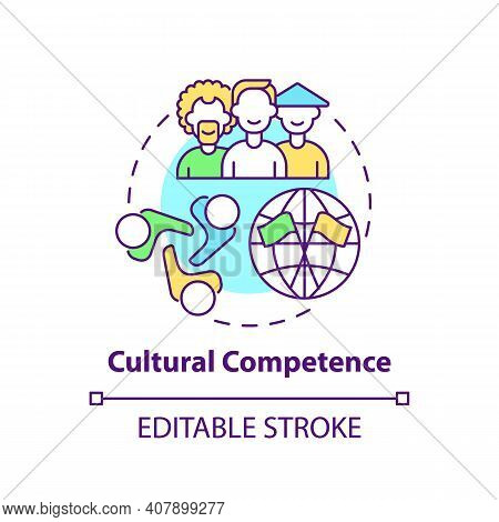 Cultural Competence Concept Icon. Language Learning Competence Idea Thin Line Illustration. Effectiv