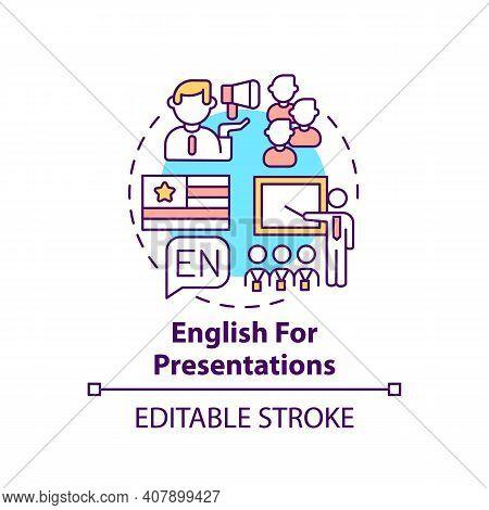 English For Presentations Concept Icon. Business English Purpose Idea Thin Line Illustration. Giving