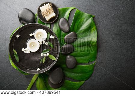 Spa Wellness Relax Concept. Spa Background With Spa Accessories On Dark Background. View From Above