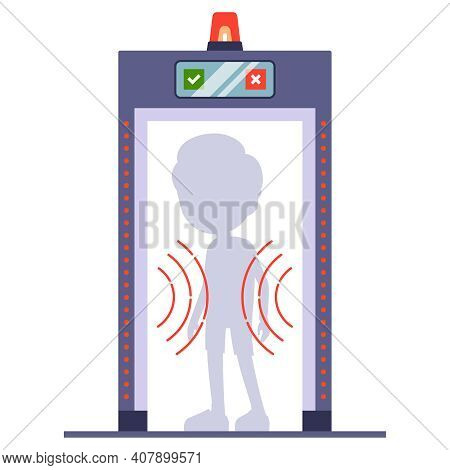Man Passes A Metal Detector At The Airport. Scan A Person Through. Flat Vector Illustration