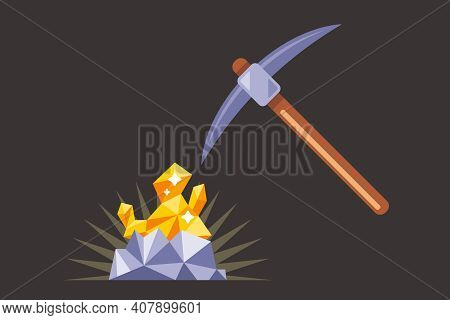 Mining For Gold Underground. Find A Precious Nugget. Work With A Pickaxe In The Mine. Flat Vector Il