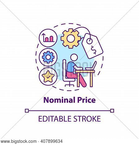 Nominal Price Concept Icon. Online Language Courses Benefit Idea Thin Line Illustration. Tuition And